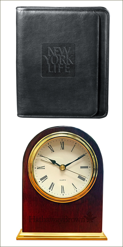 Mulholland and Sachs Corporate: Leather Journal and Clock